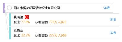 股权结构图谱—阳江市樱花环境装饰设计有限公司—天眼查